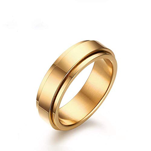 (TULIP LY Stainless Steel Spinner Rings Refined Style Unisex Ring Cool Simple Wedding Band Ring 6mm Men's Jewelry Gold Silver (Gold-Plated-Stainless-Steel, 7))