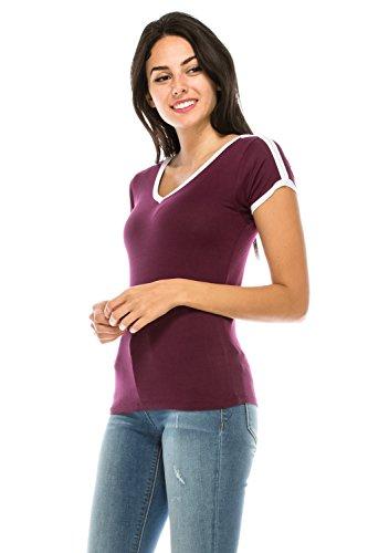Classic Fit Ringer Tee - The Classic Junior Women Slim Fit V-Neck Summer Basic Lightweight Comfy Ringer tee t Shirt (Medium, Burgundy)