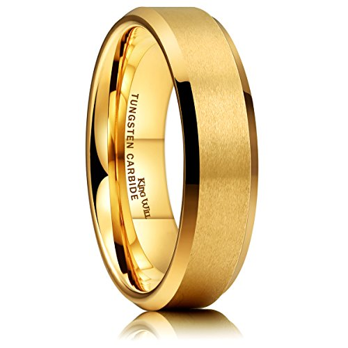 - King Will Glory 6mm Matte Finish Tungsten Carbide Ring 24K Gold Plated Comfort Fit Wedding Band(7)