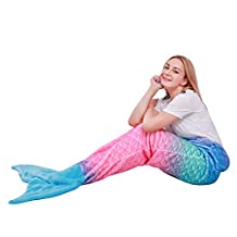 "Mermaid Tail Blanket for Kids Teens Adults,Plush Soft Flannel Fleece All Seasons Sleeping Blanket,Rainbow Ombre Fish Scale Design Snuggle Blanket,Best Gifts for Girls,Women,25""×60"""