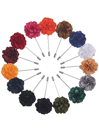 (Pangda 15 Pieces Men's Lapel Pin Handmade Satin Flower Boutonniere Pin with Gift Box for Suit Wedding Groom (Multicolor A))