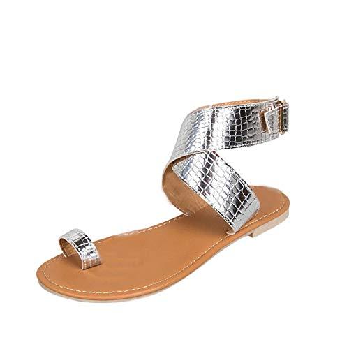 LinJiaJia_shop Sandals for Womens Cross Belt Rome Strappy Flat Flip Flops Beach ()