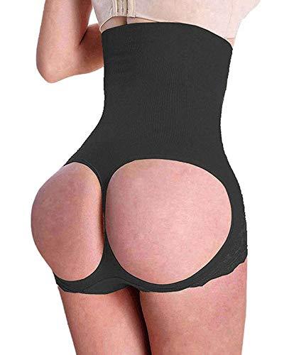 SAYFUT Women's Butt Lifter Shaper Seamless Tummy Control Hi-waist Thigh Slimmer Black XL/2XL(Waist 31