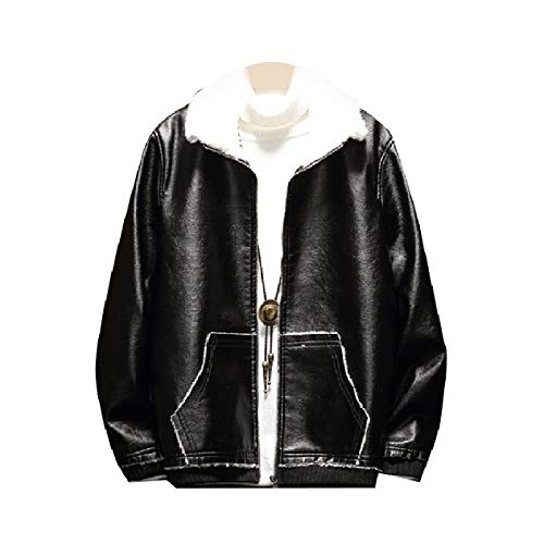 PU Down Fleece Collar Turn Size Jackets Leather Brumal VITryst Black Plus Mens n8gYffTq