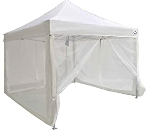 Impact Canopy Zippered Mesh Sidewalls for 10' x 10' Pop-Up Tent Canopy, White