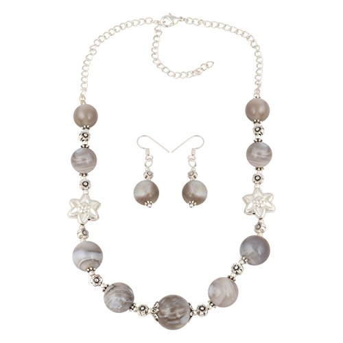 Pearlz Ocean Natural Botswana Agate Bead Chain Necklace Earrings Jewelry Set for ()