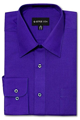 G-Style USA Men's Regular Fit Long Sleeve Solid Color Dress Shirts - Purple - Medium - 34-35