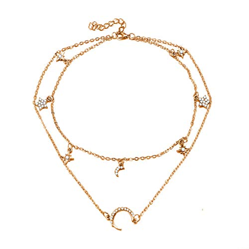 Crytsals Star - CanB Pendant Layered Crytsal Necklace Moon Star Chain Jewelry for Women and Girls (Gold Ⅰ)