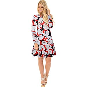 Herose Female 2018 Casual Long Sleeve Knee Length Lounging Beach Dress XL Snowman