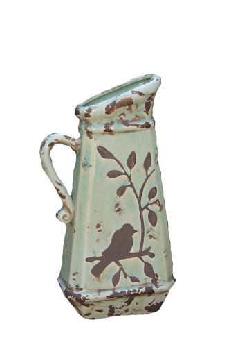 - Your Heart's Delight Birds 'n Branches Pottery Pitcher, 6-1/4 by 13 by 3-Inch