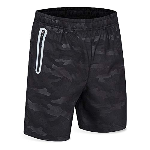 Men's Running Short Gym Workout Deep Side Reflective Zipper Pocket Quick Dry Beach Athletic Swim Short 7