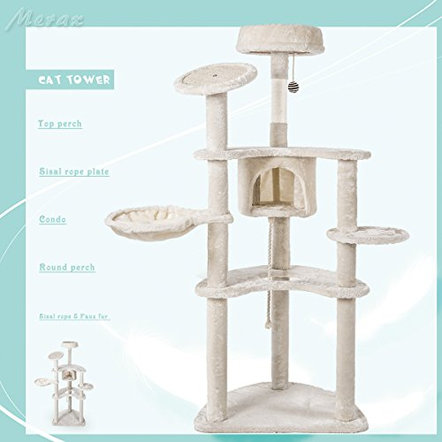 Merax CARB-Certified Cat House Cat Activity Tree Furniture (NO.2)