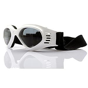 Dog Sunglasses, Doggy Goggles, Kromi Foldable UV Protection Doggie Dog Motorcycle Goggles Eyewear Pet Sunglasses for Small Medium Large Dogs (White, Medium)
