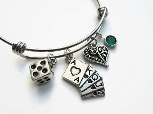 Personalized Gambler Bracelet, Expandable Stainless Steel Bangle Bracelet, Royal Flush Dice Jewelry Gift ()