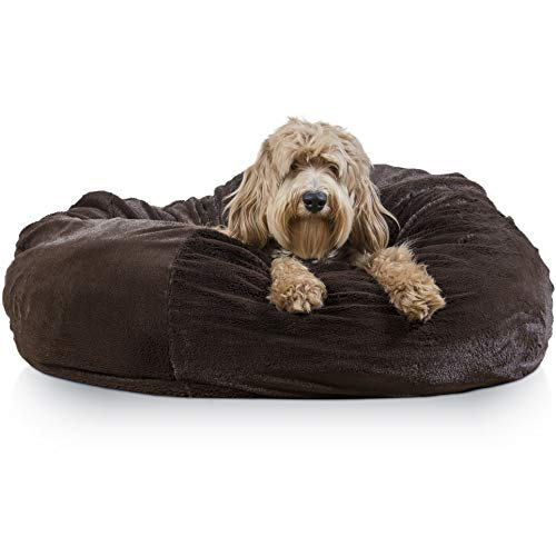 Furhaven Pet Dog Bed | Round Plush Ball Nest Cushion Refillable Pet Bed for Dogs & Cats, Espresso, Jumbo