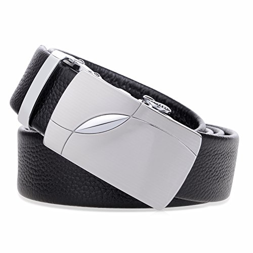 Vbiger Fashion Men's Ratchet Belt Automatic Buckle Full Grain Genuine Leather 35mm Wide (Black 13) ()