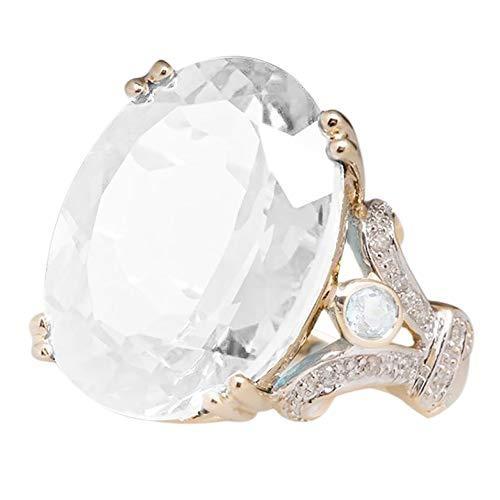 Women's Round Onyx Crystal Ring- Rhinestone Emerald Jewelry Engagement Wedding Ring Girls Band Size6-10 (Clear, ()