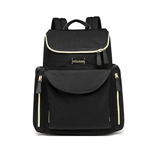 Designer Diaper Bag Backpack, Stylish Baby Diaper Bag for Moms and Dads, With Changing Pad and Insulated Pocket, Black