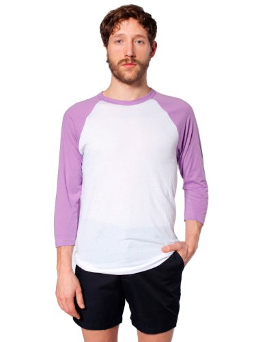 American Apparel Poly-Cotton 3/4 Sleeve Raglan Shirt - White / Orchid / S