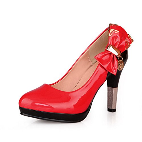 Round Tacco Metallo In Verniciata Pompe Pelle Womens Con E Rosso Piene Platofrm Toe Voguezone009 Alto Bowknot 54wqxRt6