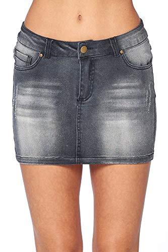 Khanomak Hollywood Star Fashion Women's Denim Mini 5 Pocket Skirt (X-Small, Black)