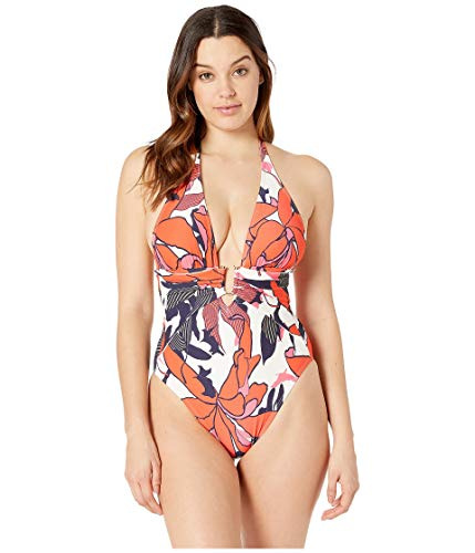 (Vince Camuto Women's Wild Lotus Plunging Wrap One-Piece Multi 6)