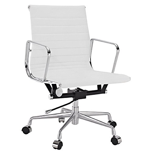 Charles Eames Style Aluminium Management Low Back Ribbed Thin Pad Executive Ergonomic Office Chair Genuine TOP Grain Italian Leather (Charles Desk Chair)