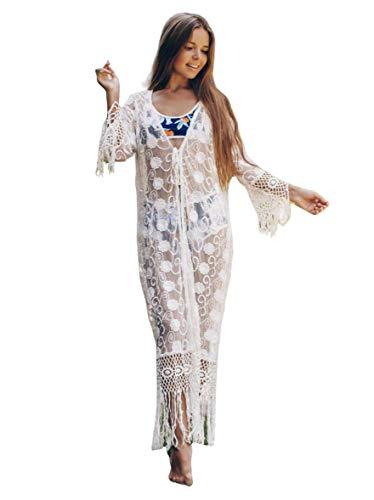 Womens Kimono lace Cardigan Open Front Tunics Beach Coverup Long Sleeves (924)