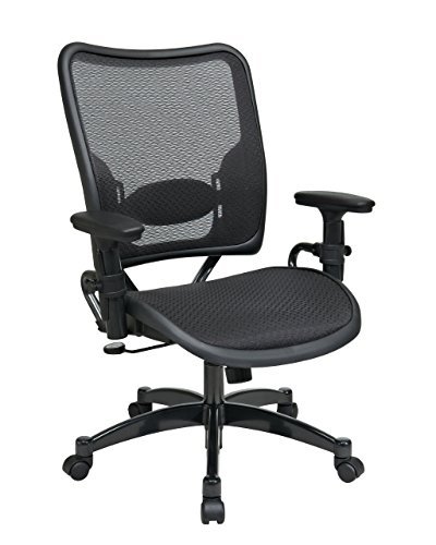 SPACE Seating Deluxe AirGrid Dark Back and Seat, 2-to-1 Synchro Tilt Control, Adjustable Arms, Tilt Tension and Lumbar Support with Gunmetal Finish Base Managers Chair ()