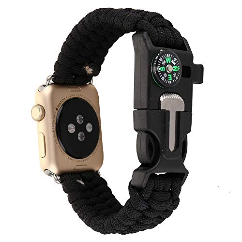 Woven Nylon Rope Paracord Wrist Band for Apple Watch, Replacement Compass Sport Strap Bracelet Watch Band Outdoor Survival Tools for iWatch Serise 1 2 3 4 (Black, - Adventure Watch Compass Tech