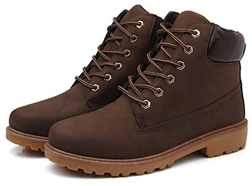 DADAWEN Women's Lace Up Low Heel Work Combat Boots Waterproof Ankle Bootie Brown US Size 11 by DADAWEN (Image #3)