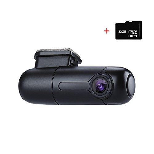 Blueskysea B1W WiFi Mini Dash Cam Car Camera Vehicle Video Driving Recorder 360 Degree Rotatable Lens 1080p 30fps G-Sensor Loop Recording (B1W with 32GB TF Card)