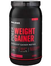 Body Attack Power Weight Gainer, Strawberry, 1.5 kg, 100% massabouw, koolhydraat eiwitpoeder om spieren op te bouwen met Wei-eiwit, ideaal voor hardgainers.