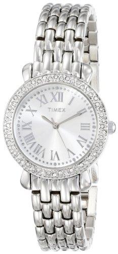 Timex Women's T2P2589J Crystal Silver-Tone Stainless Steel Bracelet Watch