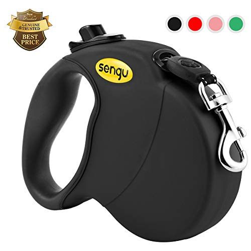 (Retractable Dog Leash, 16 ft Nylon Dog Walking Leashes for Small Medium Large Dogs up to 110lbs, One Button Break & Lock, Tangle Free Black)
