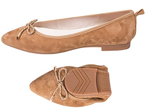 ABUSA Women's Leather/Suede Ballet Flat Foldable Pointed Toe Shoes Bourbon Suede Size 8 (Toe Brown Pointy)