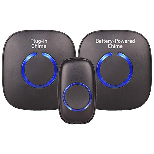 Wireless Doorbells for Home - SadoTech Door Bells & Chimes Wireless Kit - At Over 1000-feet Range with 52 USA Doorbell Chime, Adjustable Volume and LED Flash, Model CXRi (Matte Black)