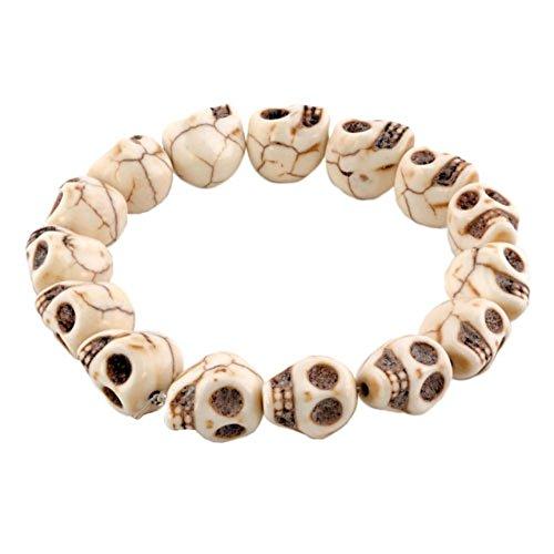 - LovelyJewelry Tibetan Prayer Multi Color Skull Beads Handmade Bracelets for Girls for (Synthetic Crystal)