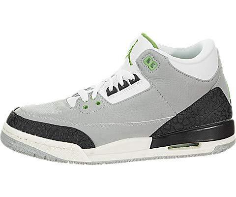 Jordan Nike Kids Air 3 Retro (GS) Lt Smoke Grey/Chlorophyll Basketball Shoe 4 Kids US