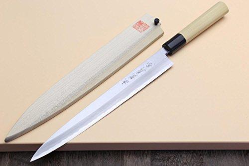 Yoshihiro Left Handed Shiroko High Carbon Steel Kasumi Yanagi Sashimi Japanese Chef Knife 10.5 Inch (270mm)