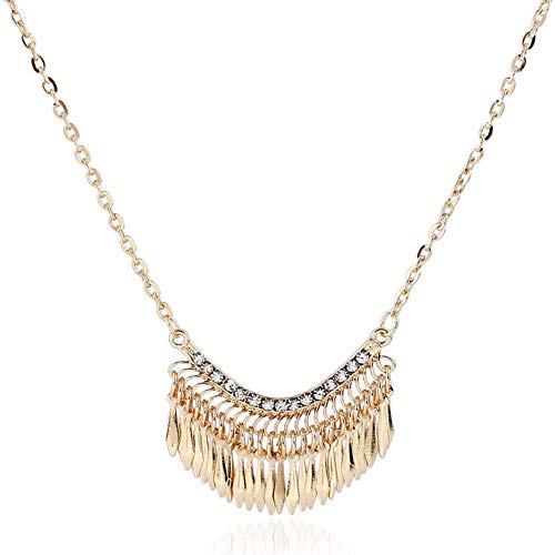 (Rhinestone Gold Crystal Tassel Necklace Bib Pendant Necklace Long Chain)