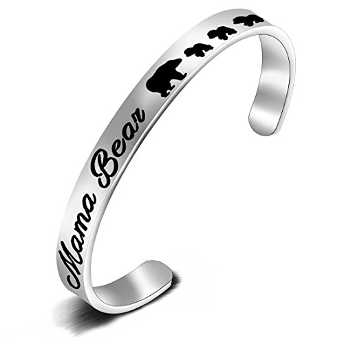 FEELMEM Sweet Family Mama Bear Cubs Cuff Bangle Bracelet Mother's Day Gift Ideas Gifts for Mom Grandma(3 Cubs)