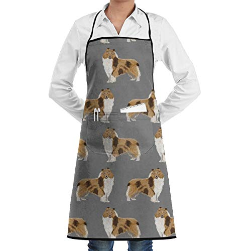 - xiaolang Kitchen Aprons Rough Collie Dog Fabric Cute Rough Collie Print Pattern for Sewing Quilters Cute Dog Design_304 Adjustable Bib Apron with Pockets 28.3x20.5inch