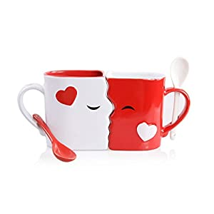 Kissing Mugs Set, Exquisitely Crafted Two Large Cups, Each with Matching Spoon, For Him and Her on Valentines, Birthday, Anniversary, Wedding, Engagement or Anytime a Couple Wishes by Blu Devil