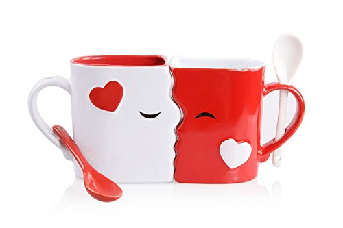 Kissing Mugs Set, Exquisitely Crafted Two Large Cups, Each with Matching Spoon, For Him and Her on Valentine's Day, Birthday, Anniversary, Christmas or Anytime a Couple Wishes by Blu Devil (Special Gift For Him On Valentine Day)