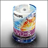 Philips 16x (Premium) 4.7GB Blank DVD-R DVD Discs - 100PK, Spindle