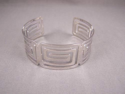 Shiny Silver tone metal bangle cuff 7/8 wide bracelet rectangle cutout ()