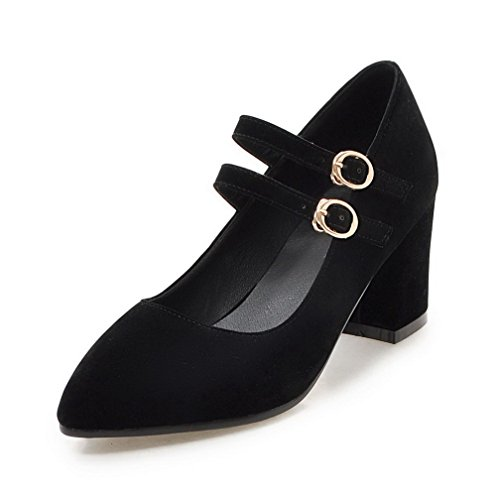 VogueZone009 Women's Frosted Kitten-Heels Pointed-Toe Solid Buckle Pumps-Shoes Black 3ZEMFSUY