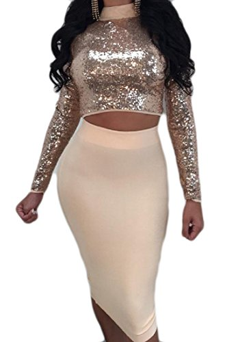 Sexy Dresses 2 Splicing Piece Hollow Sequin Straps Club Women golden Cross Coolred 7Twvq10W0