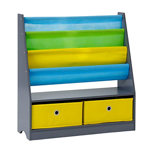 ge Organizer Rack Kids Book Organizer Non-woven Fabric Storage Bin Bookcase Storage for Children Girls Boys Toddlers ()